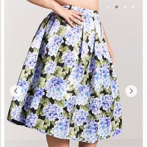 Dresses & Skirts - Floral Purple White Pleated Satin Skirt